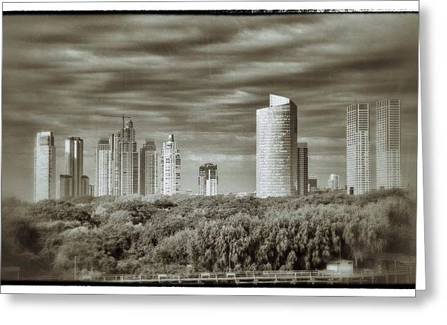 Buildings Reliefs Greeting Cards - Modern Buenos Aires Black And White Greeting Card by For Ninety One Days