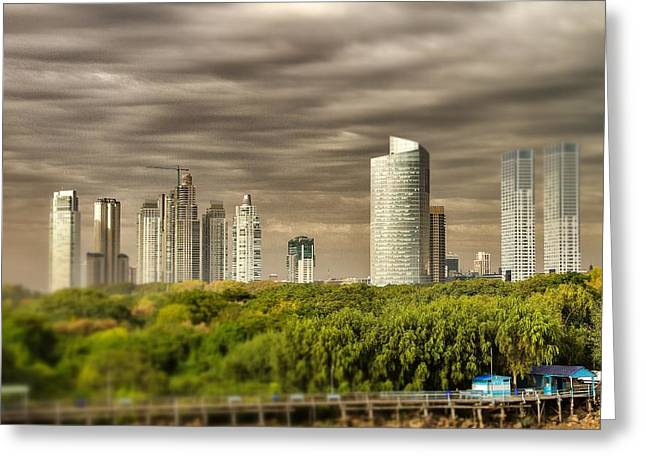 Buenes Aires Guide Greeting Cards - Modern Buenos Aires Tilt Shift Greeting Card by For Ninety One Days