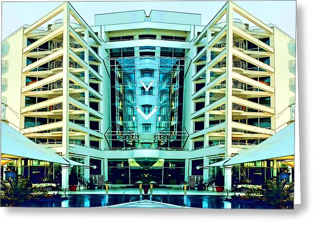 Modern Building From Photos Color Sketch 01 Greeting Card by Nenad Cerovic