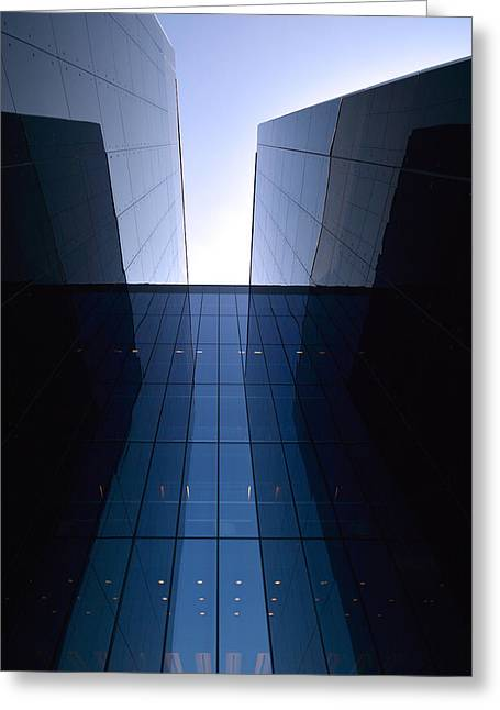 Facades Mixed Media Greeting Cards - Modern building vertical Greeting Card by Toppart Sweden