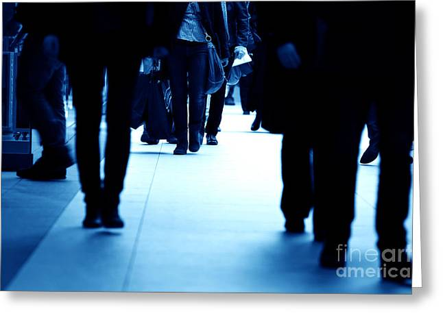 People Walking Greeting Cards - Modern business center in rush Greeting Card by Michal Bednarek