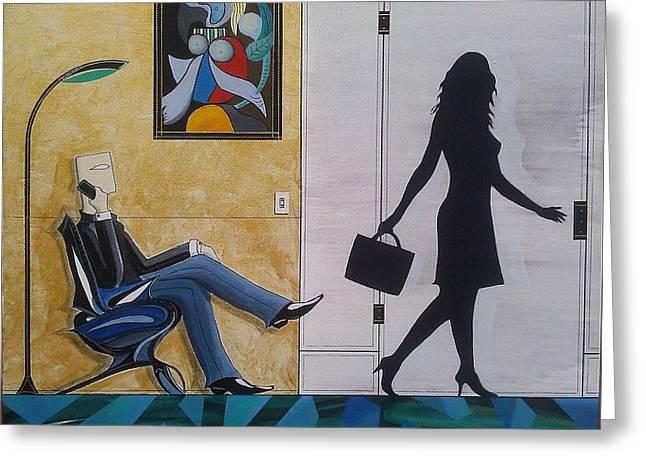 Modern Businessman Sitting In Chair Greeting Card by John Lyes