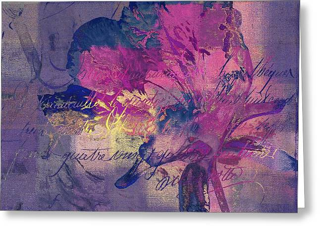 Purple Irises Greeting Cards - Modern Floral - 072083158 - mp02b Greeting Card by Variance Collections