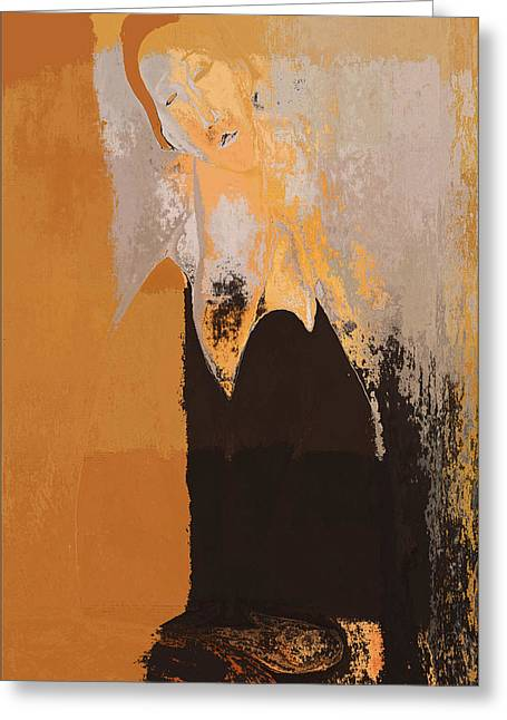 Ocre Greeting Cards - Modern from Classic Art Portrait - 01 Greeting Card by Variance Collections