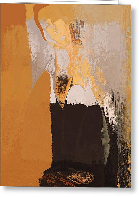 Ocre Greeting Cards - Modern from Classic Art Portrait - 073044049-02-85 Greeting Card by Variance Collections