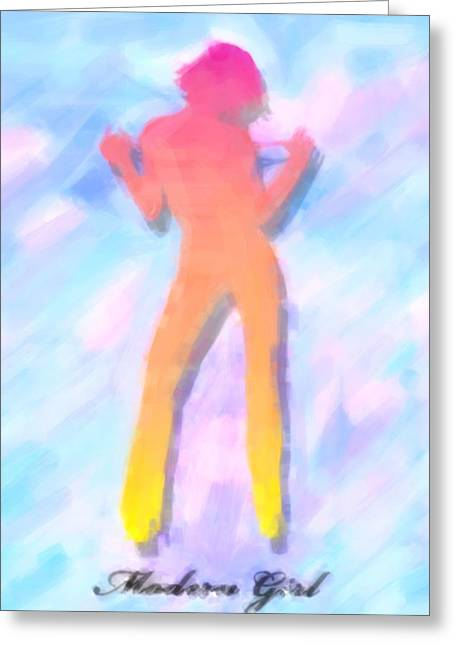 Full-length Portrait Mixed Media Greeting Cards - Modern girl in abstract oil Greeting Card by Toppart Sweden
