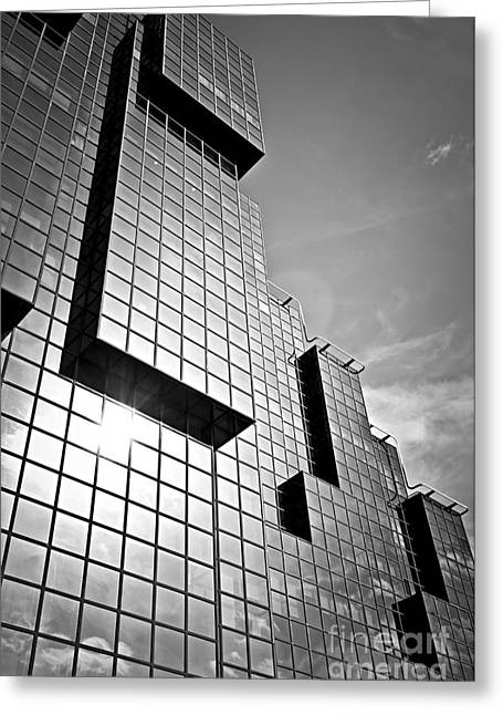 Glass Facades Greeting Cards - Modern glass building Greeting Card by Elena Elisseeva