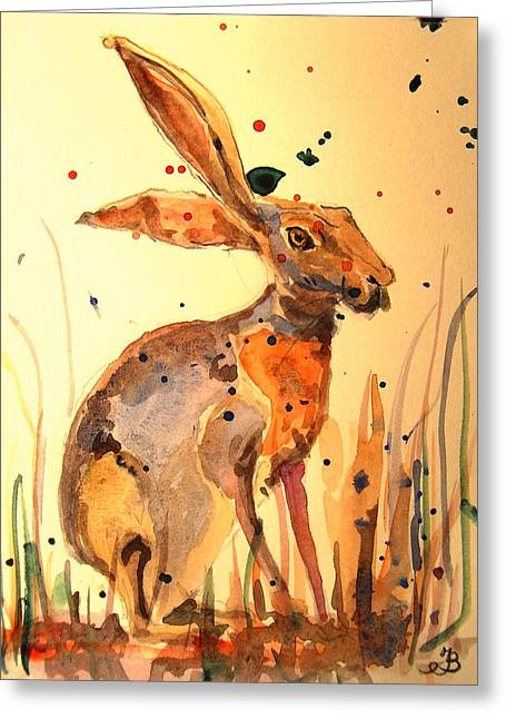 Haring Greeting Cards - Modern hare Greeting Card by Juan  Bosco