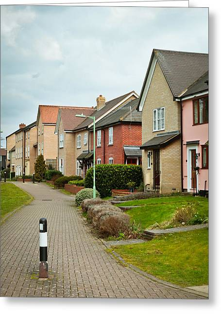 Suburbia Greeting Cards - Modern houses Greeting Card by Tom Gowanlock
