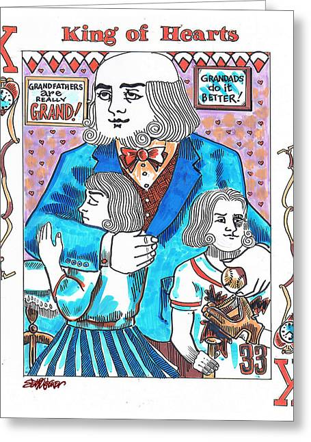 Playing Cards Drawings Greeting Cards - Modern King O Hearts Greeting Card by Seth Weaver