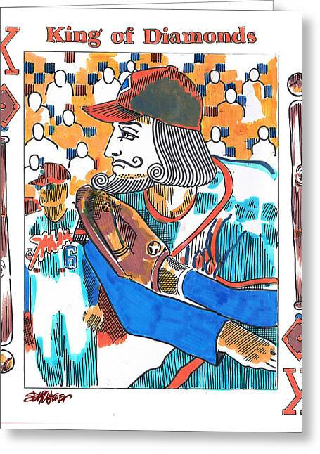 Playing Cards Drawings Greeting Cards - Modern King O Diamonds Greeting Card by Seth Weaver