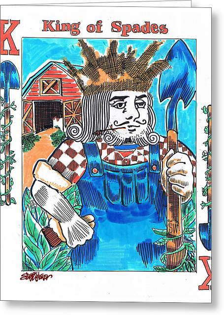 Playing Cards Drawings Greeting Cards - Modern King O Spades Greeting Card by Seth Weaver