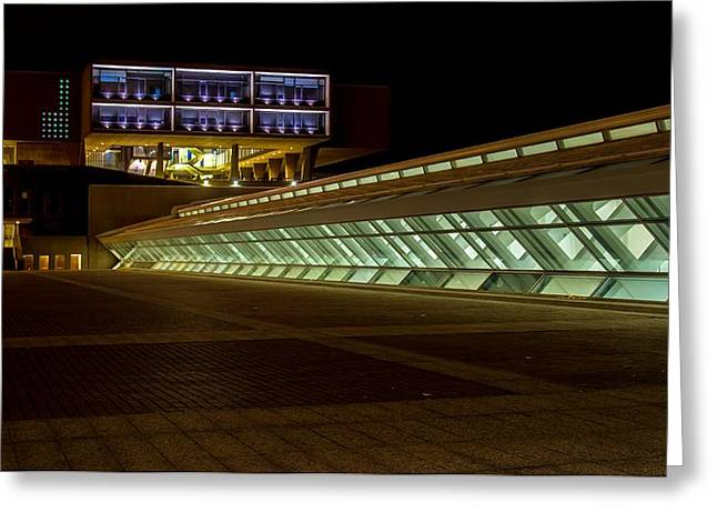 Contemporary Night Scape Greeting Cards - Modern Lines Greeting Card by Chuck De La Rosa