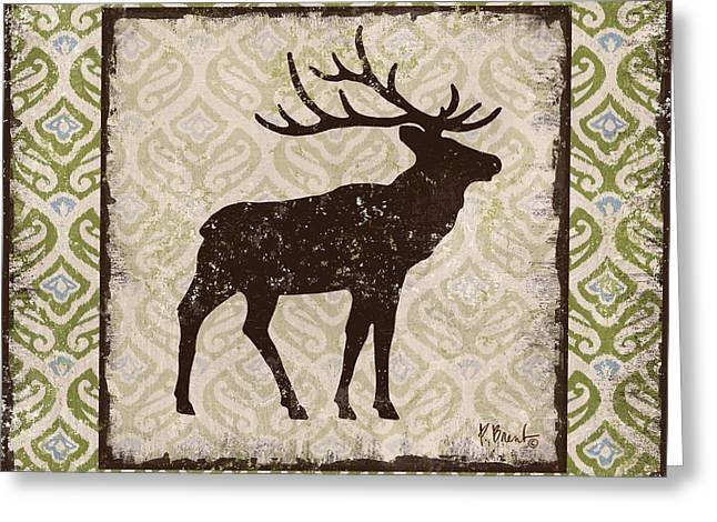 Deer Camp Greeting Cards - Modern Lodge Azure I Greeting Card by Paul Brent
