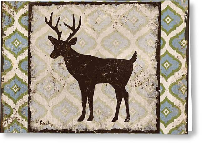 Deer Camp Greeting Cards - Modern Lodge Azure II Greeting Card by Paul Brent