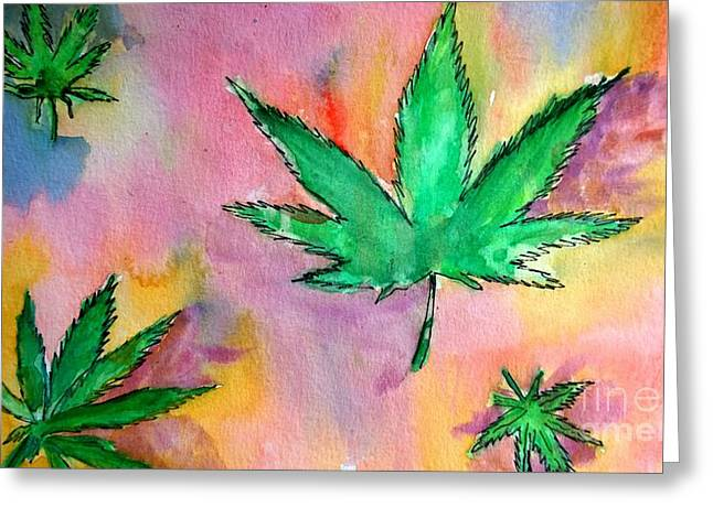 Blank Greeting Cards Mixed Media Greeting Cards - Pot Leaf Watercolor Modern Medicine  Greeting Card by Eunice Miller