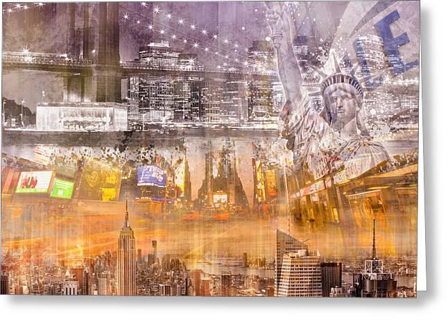 East Digital Art Greeting Cards - Modern NYC Composing purple/orange Greeting Card by Melanie Viola