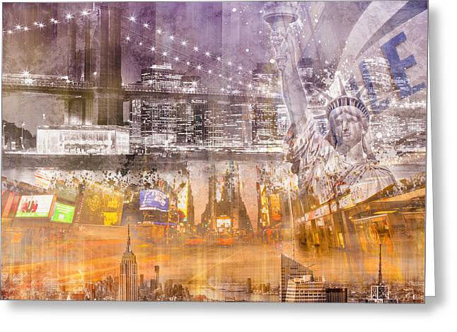 Composing Greeting Cards - Modern NYC Composing purple/orange Greeting Card by Melanie Viola