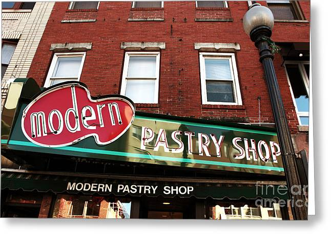 Beantown Greeting Cards - Modern Pastry Shop Greeting Card by John Rizzuto