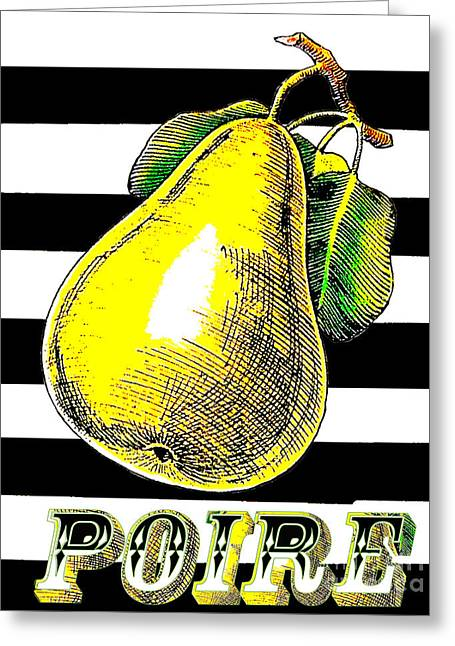 French Pears Greeting Cards - Modern Pear BW Stripes Greeting Card by AdSpice Studios