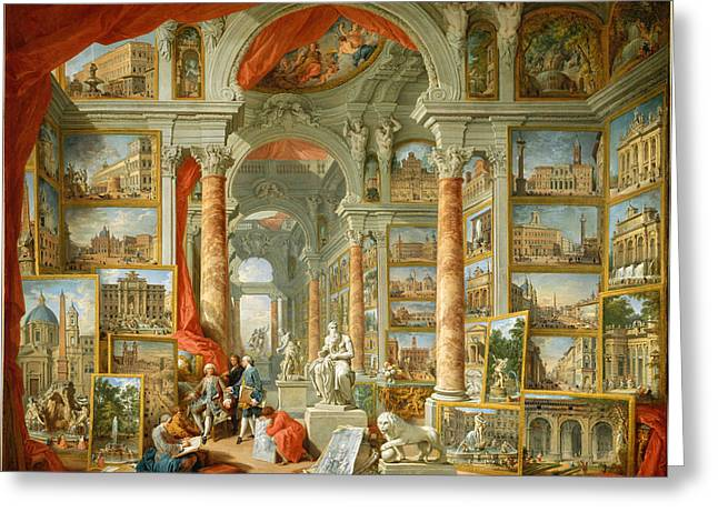 Giovanni Paolo Panini Greeting Cards - Modern Rome Greeting Card by Giovanni Paolo Panini