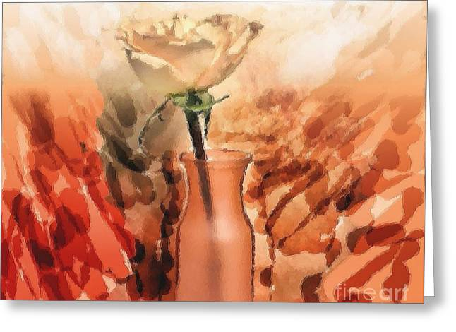 Apricot Digital Art Greeting Cards - Modern Rose Greeting Card by Marsha Heiken