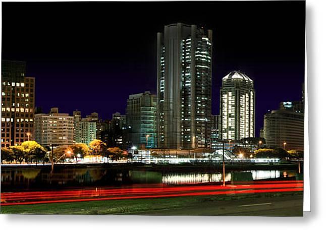 Sao Greeting Cards - Modern Sao Paulo Skyline near Brooklin District and Stayed Bridge Greeting Card by Carlos Alkmin