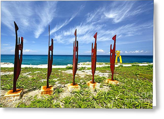 Isla Mujeres Greeting Cards - Modern Sculptures Seaside Greeting Card by George Oze