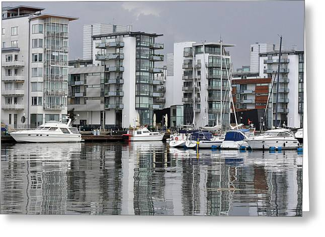 Buildings By The Sea Greeting Cards - Modern Sea Side Apartments Greeting Card by Simon Alvinge