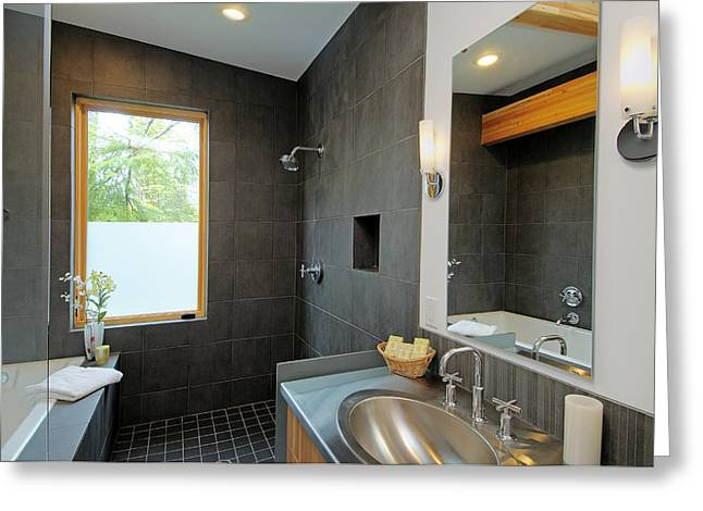 Ostentatious Greeting Cards - Modern Shower and Sink Greeting Card by Will Austin