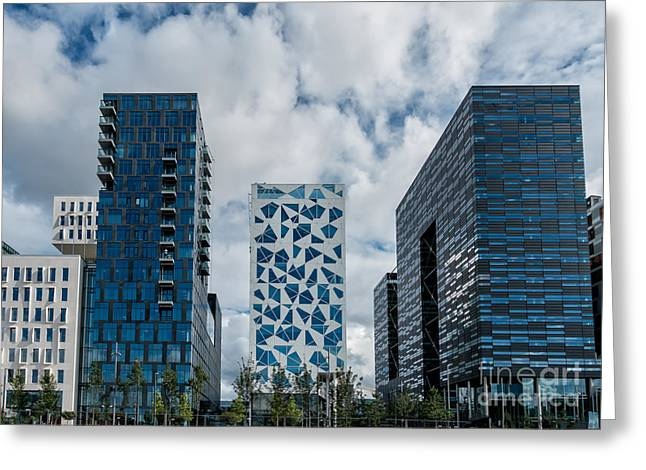 Oslo Greeting Cards - Modern skyline near the harbor in Oslo Norway Greeting Card by Frank Bach