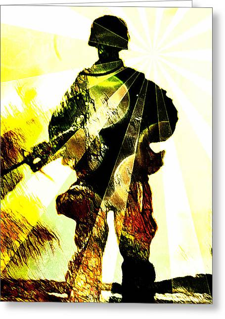 Jarhead Greeting Cards - Modern Soldier Greeting Card by Andrea Barbieri