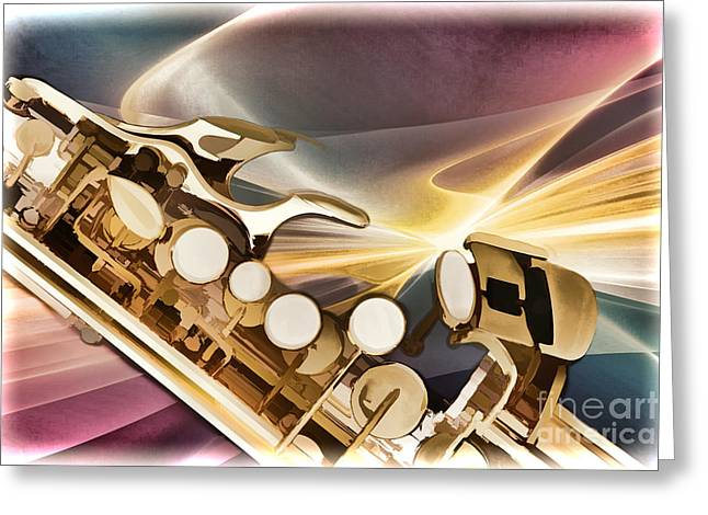 Soprano Greeting Cards - Modern Soprano Saxophone Painting in Color 3345.02 Greeting Card by M K  Miller