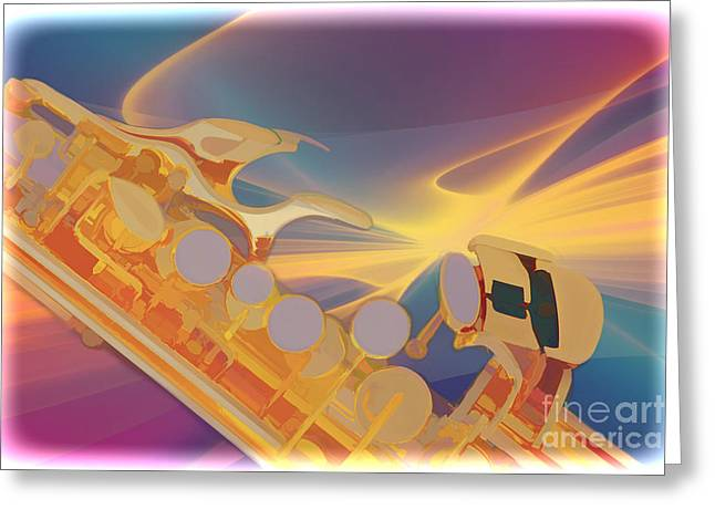 Soprano Greeting Cards - Modern Soprano Saxophone Watercolor Painting 3346.02 Greeting Card by M K  Miller