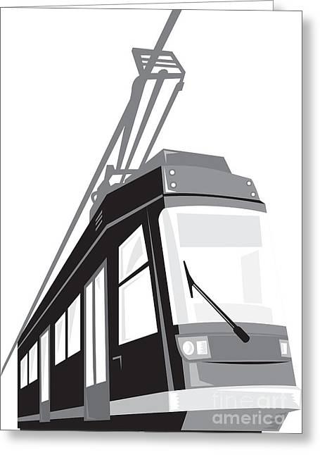 Electric Train Greeting Cards - Modern Streetcar Tram Train Greeting Card by Aloysius Patrimonio