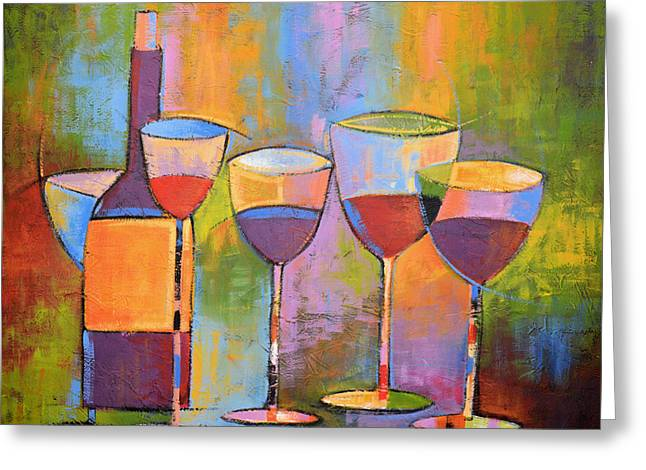 Modern Wine Art ... Wine Party Greeting Card by Amy Giacomelli