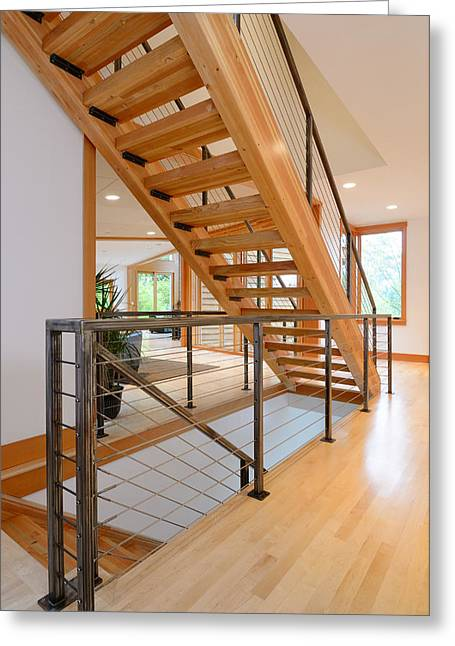 Wooden Stairs Greeting Cards - Modern Wooden Staircase Greeting Card by Will Austin