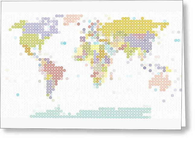 Historical Buildings Greeting Cards - Modern World Map Greeting Card by Celestial Images