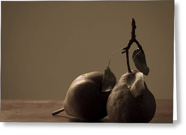 Brown Pears Greeting Cards - Modesty Greeting Card by Constance Fein Harding