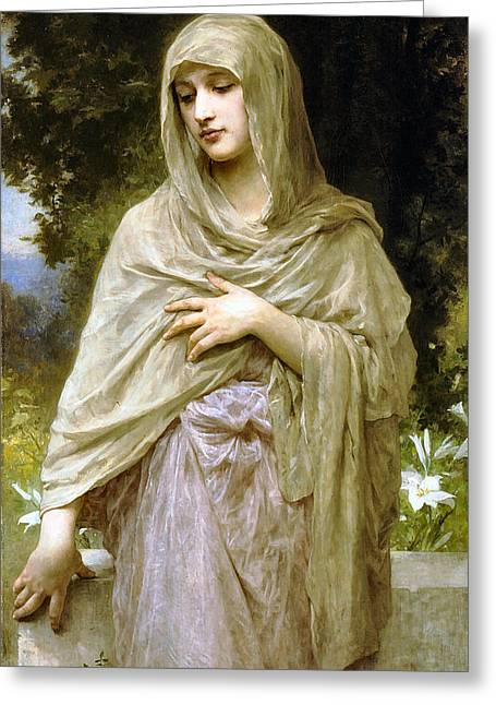 Modesty Greeting Cards - Modesty Greeting Card by William Bouguereau