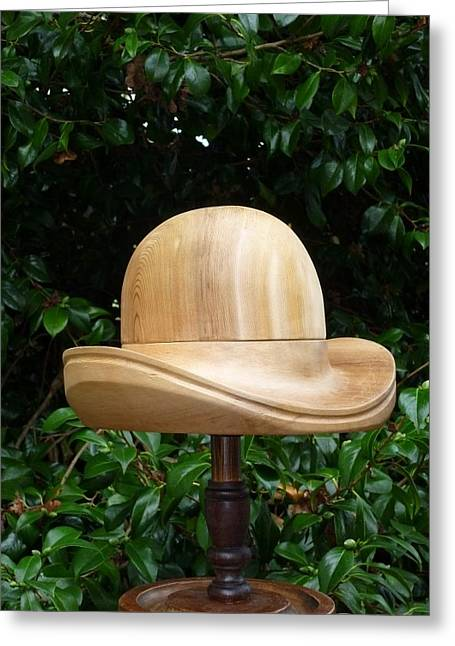Pieces Sculptures Greeting Cards - Modified Bowler Style hat block Greeting Card by Roger Friesen