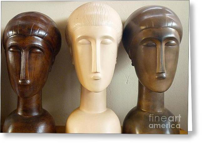 Ceramic Sculpture Ceramics Greeting Cards - Modigliani style ceramic heads Greeting Card by Susanna Baez