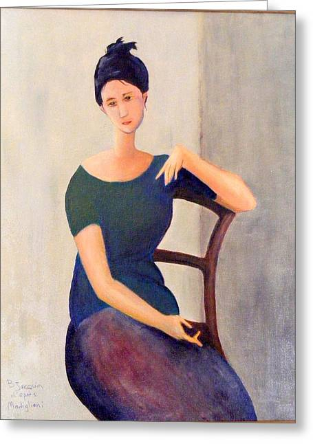 Portraits Jewelry Greeting Cards - Modigliani woman Greeting Card by Barbara Jacquin