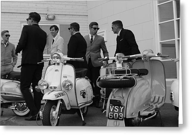 Goodwood Greeting Cards - Mods and Suits Greeting Card by Robert Phelan