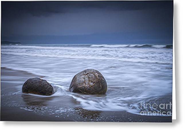 Dark Skies Greeting Cards - Moeraki Boulders and Waves Greeting Card by Colin and Linda McKie