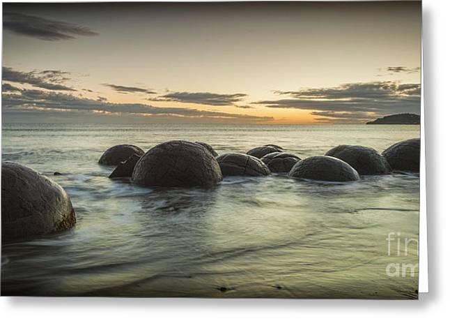 Horizon Over Water Greeting Cards - Moeraki Boulders New Zealand at Sunrise Greeting Card by Colin and Linda McKie