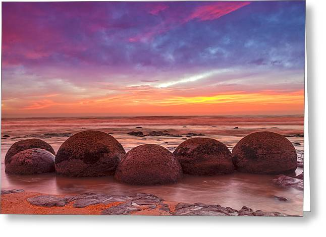 Region Greeting Cards - Moeraki Boulders Otago New Zealand Greeting Card by Colin and Linda McKie
