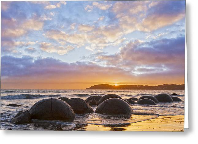 Beautiful Scenery Greeting Cards - Moeraki Boulders Otago New Zealand Sunrise Greeting Card by Colin and Linda McKie