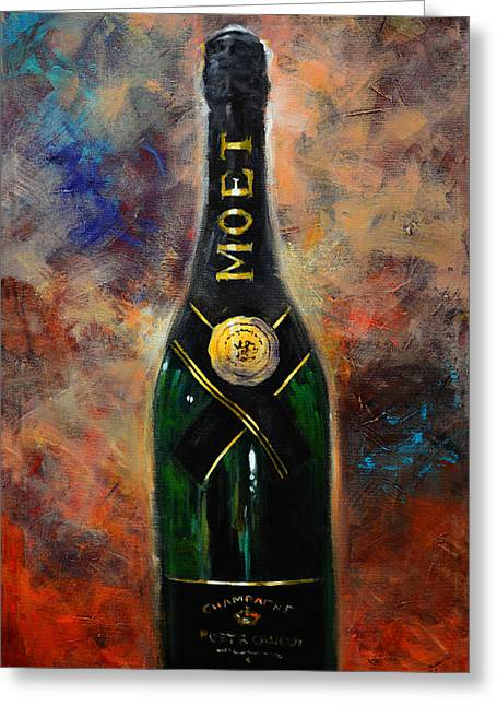 Red Wine Prints Greeting Cards - Moet Champagne art Greeting Card by Kanayo Ede