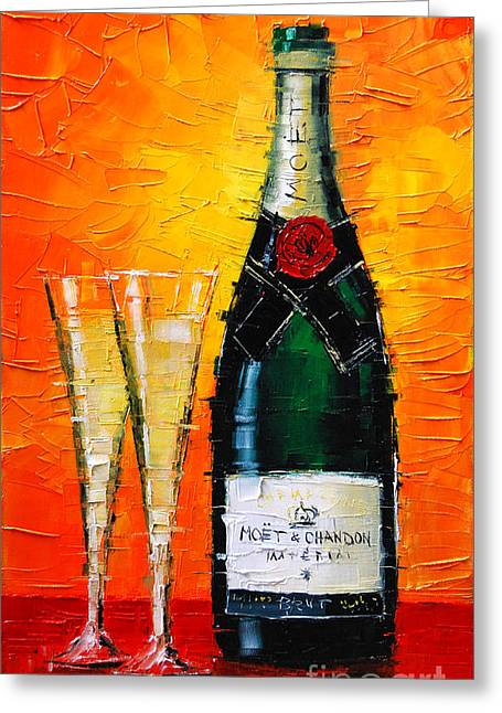 Glass Bottle Greeting Cards - Moet Et Chandon I Greeting Card by Mona Edulesco